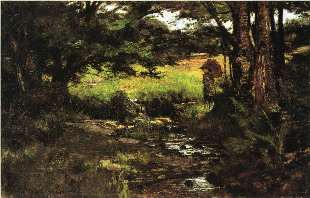 Brook in Woods by Theodore Clement Steele (1847-1926, United States)