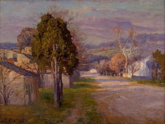 Brookville - A Street by Theodore Clement Steele (1847-1926, United States) | Museum Quality Reproductions | ArtsDot.com