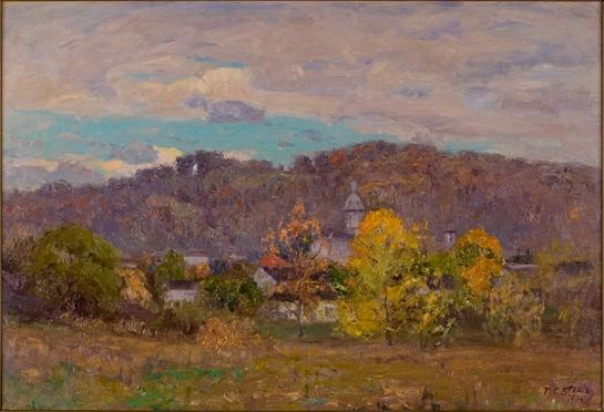 Brookville Hilltops-Fall Landscape-Villa by Theodore Clement Steele (1847-1926, United States)
