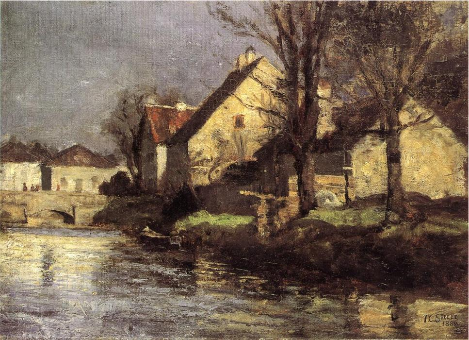 Canal, Schlessheim, Oil On Canvas by Theodore Clement Steele (1847-1926, United States)