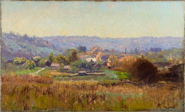 Church in the Town by Theodore Clement Steele (1847-1926, United States) | ArtsDot.com