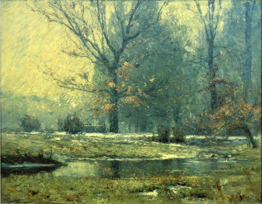 Creek in Winter, Oil On Canvas by Theodore Clement Steele (1847-1926, United States)