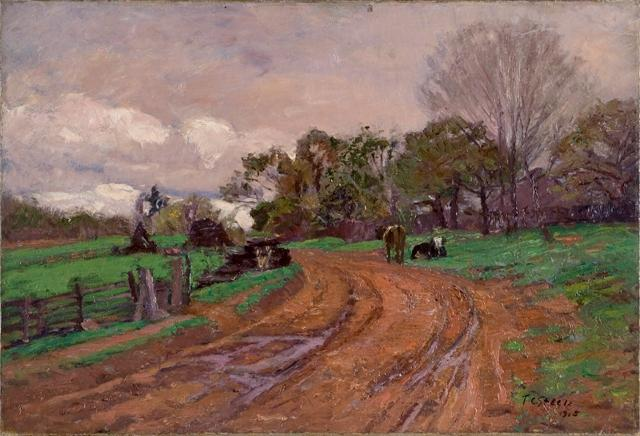 Curve in the Road by Theodore Clement Steele (1847-1926, United States) | Museum Art Reproductions | ArtsDot.com
