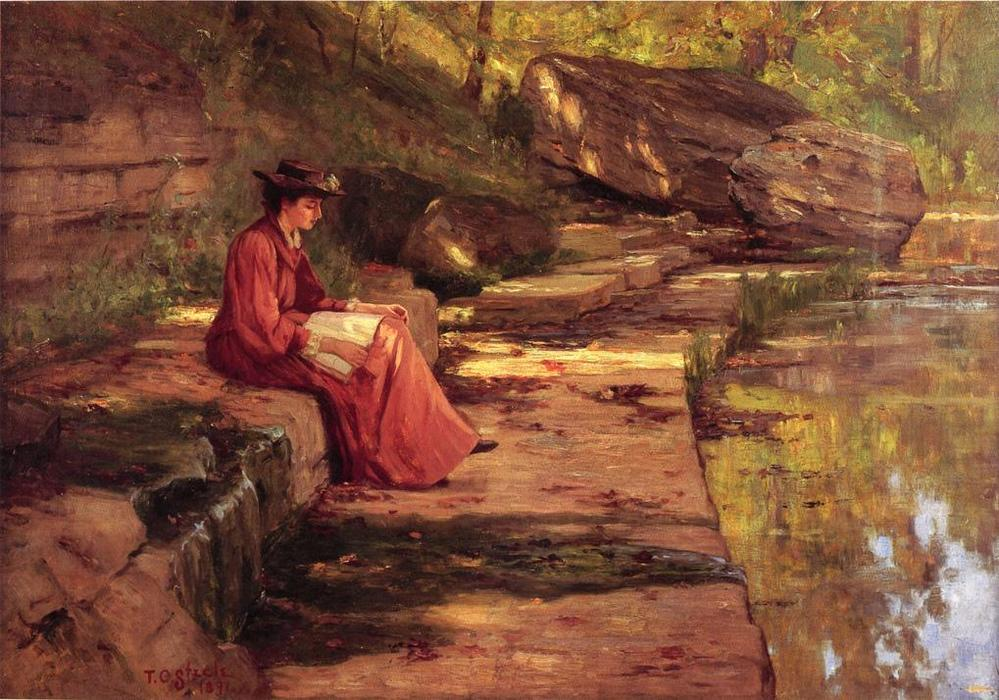 Daisy by the River, Oil On Canvas by Theodore Clement Steele (1847-1926, United States)