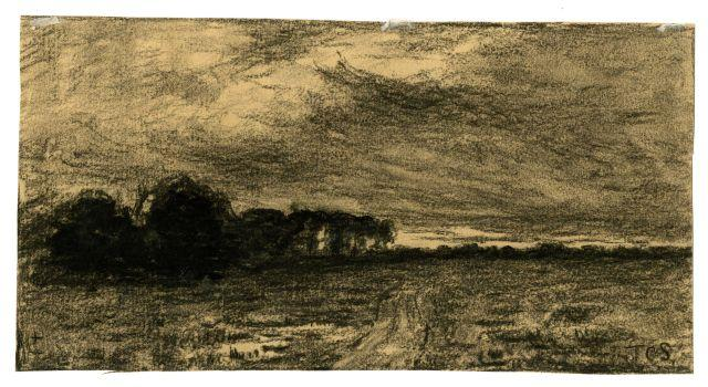 Drawing of a country lane by Theodore Clement Steele (1847-1926, United States)