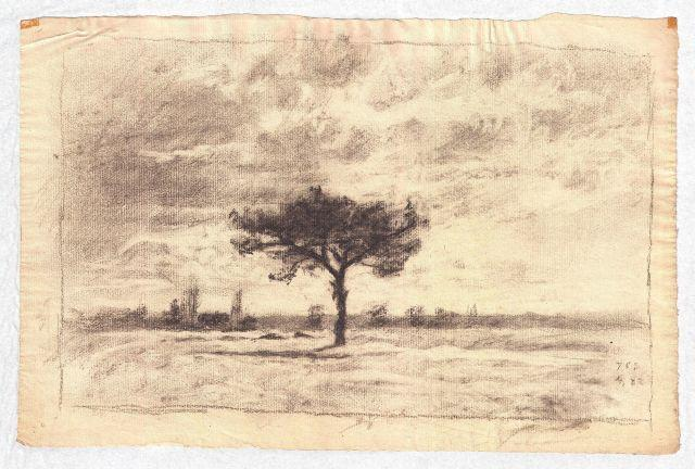 Drawing of a meadow by Theodore Clement Steele (1847-1926, United States)