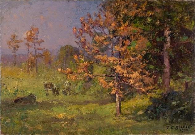 Early Autumn (The Autumn White Oak) by Theodore Clement Steele (1847-1926, United States) | Museum Art Reproductions | ArtsDot.com