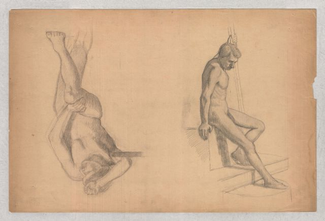 Figures studies of male nude by Theodore Clement Steele (1847-1926, United States) | ArtsDot.com