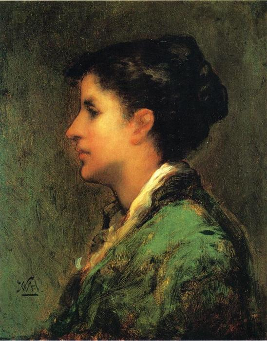 Frau Gernhardt, Oil On Canvas by Theodore Clement Steele (1847-1926, United States)
