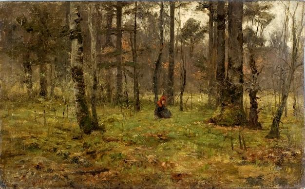 Girl in the Woods by Theodore Clement Steele (1847-1926, United States) | Museum Quality Reproductions | ArtsDot.com