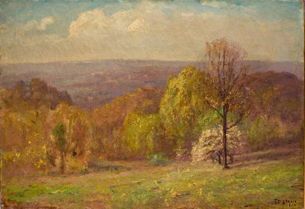 Green Pastures (Spring, Salt Creek Valley) by Theodore Clement Steele (1847-1926, United States) | Oil Painting | ArtsDot.com