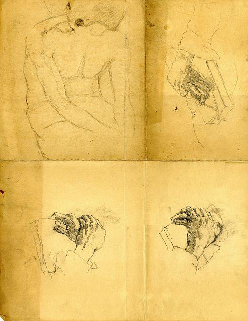 Hand studies by Theodore Clement Steele (1847-1926, United States)