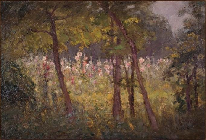 Hollyhocks by Theodore Clement Steele (1847-1926, United States) | ArtsDot.com