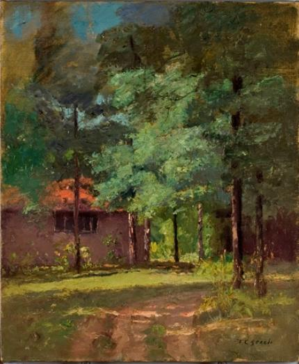 House Among Tall Trees (View of the Studio) by Theodore Clement Steele (1847-1926, United States) | ArtsDot.com