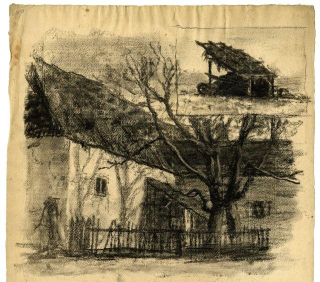 House and tree by Theodore Clement Steele (1847-1926, United States) | Museum Art Reproductions | ArtsDot.com