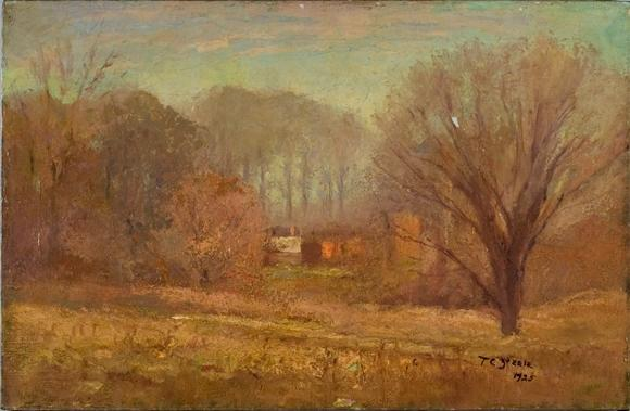 House in the Evening Mist by Theodore Clement Steele (1847-1926, United States)