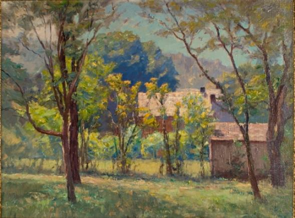 House in the Woods by Theodore Clement Steele (1847-1926, United States)
