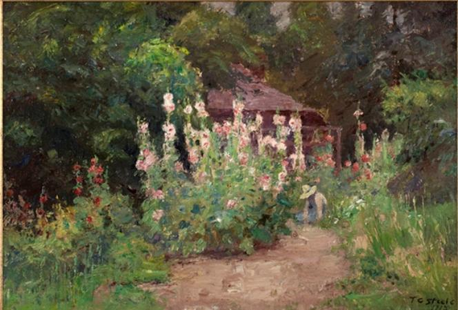 In My Garden by Theodore Clement Steele (1847-1926, United States)