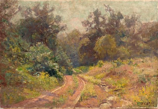 Into the Woods (Mid Summer, The Road) by Theodore Clement Steele (1847-1926, United States)
