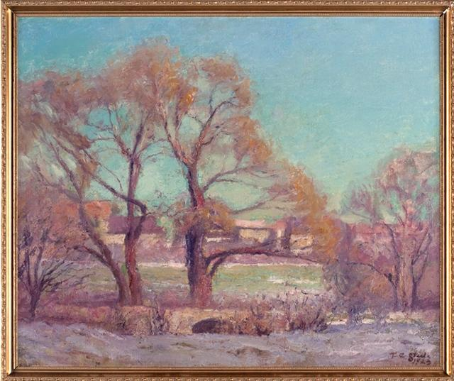 Jordan Bridge & Willows on Campus by Theodore Clement Steele (1847-1926, United States) | Museum Quality Reproductions | ArtsDot.com