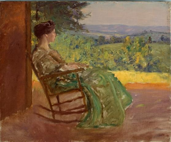 Lady Rocking on the Porch by Theodore Clement Steele (1847-1926, United States)