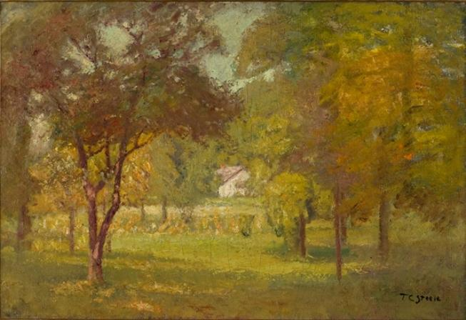 Landscape and White Cottage by Theodore Clement Steele (1847-1926, United States) | ArtsDot.com