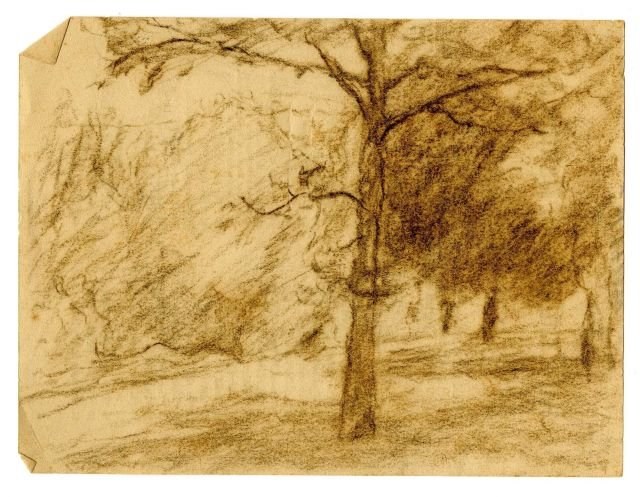 Landscape sketch 10 by Theodore Clement Steele (1847-1926, United States)