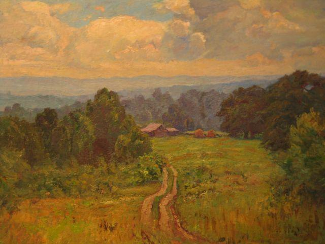 Landscape with Barn (Road to Cottage) by Theodore Clement Steele (1847-1926, United States) | ArtsDot.com