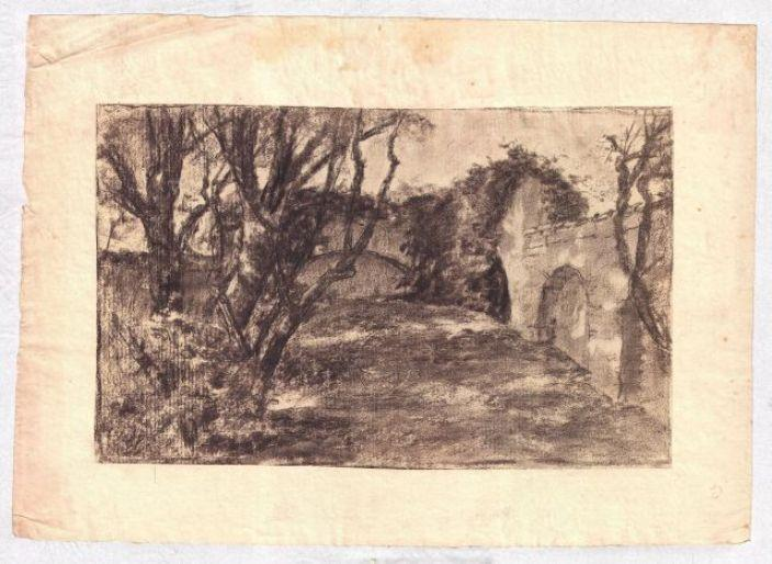 Landscape with stone wall by Theodore Clement Steele (1847-1926, United States)