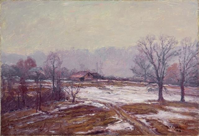Melting Snow (A Snowy Day) by Theodore Clement Steele (1847-1926, United States) | ArtsDot.com