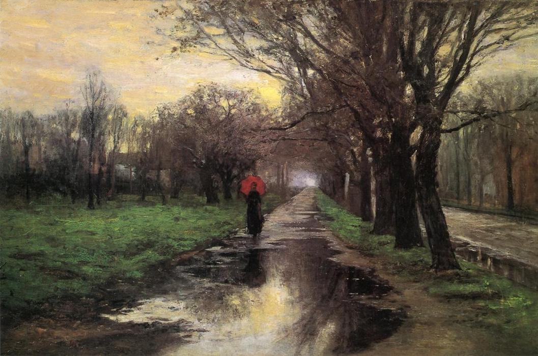 Meridian Street, Thawing Weather, Oil On Canvas by Theodore Clement Steele (1847-1926, United States)