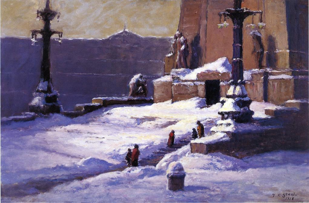Monument in the Snow, Oil On Canvas by Theodore Clement Steele (1847-1926, United States)