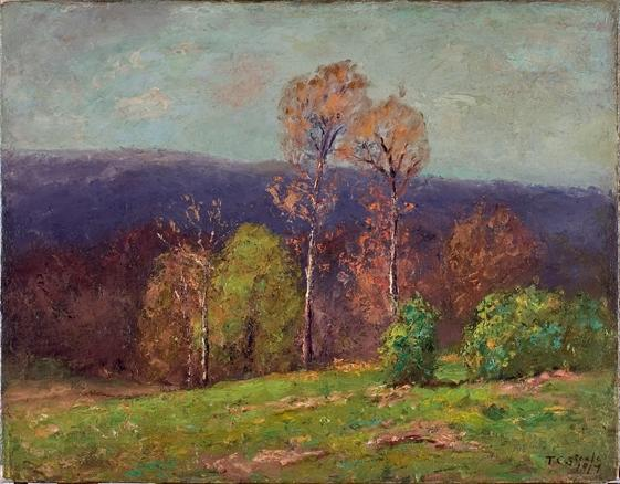 Mountain Ridge in the Distance (Cloud Shadows) by Theodore Clement Steele (1847-1926, United States) | Painting Copy | ArtsDot.com