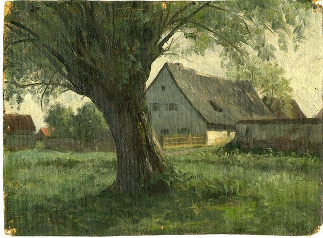 Painting Study Large Tree and Farm by Theodore Clement Steele (1847-1926, United States)