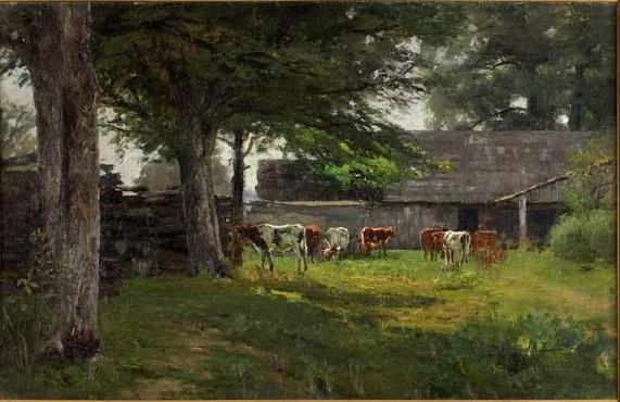 Pastoral (Cows by the Barn) by Theodore Clement Steele (1847-1926, United States)