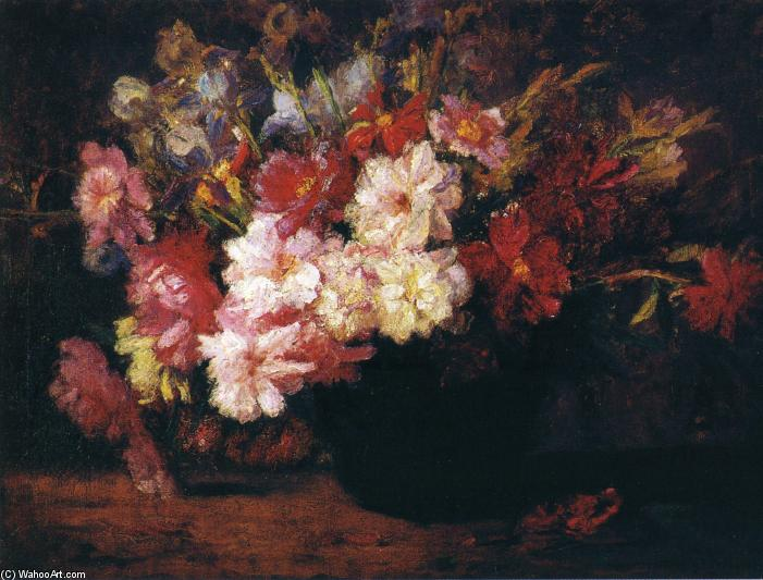 Peonies and Irises, Oil On Canvas by Theodore Clement Steele (1847-1926, United States)