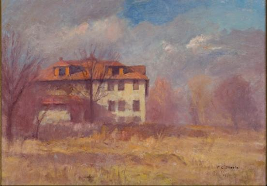 Phi Delta Fraternity House, IU Campus by Theodore Clement Steele (1847-1926, United States) | Museum Art Reproductions | ArtsDot.com