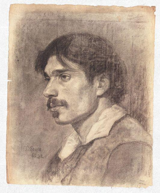 Portrait of a Young Man with Moustache by Theodore Clement Steele (1847-1926, United States)