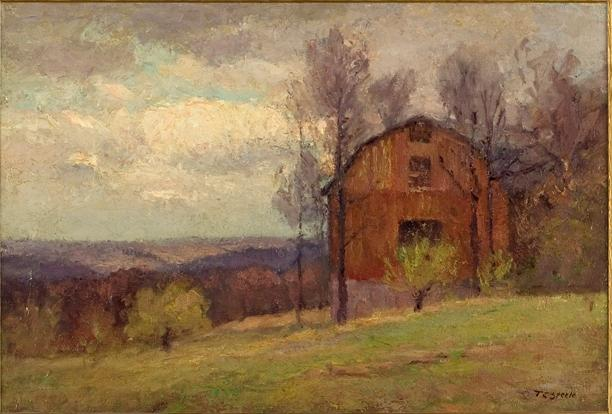 Red Barn and Trees by Theodore Clement Steele (1847-1926, United States)