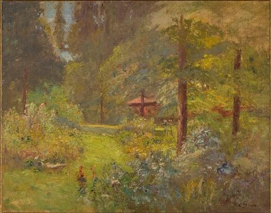 Red House with Trees and Flowes by Theodore Clement Steele (1847-1926, United States) | Oil Painting | ArtsDot.com