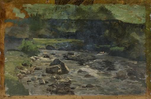 River with Rocks Study by Theodore Clement Steele (1847-1926, United States)