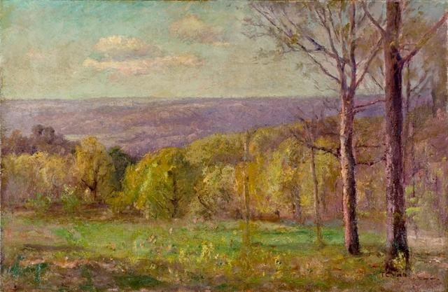 Salt Creek Valley in Spring (Blue Hills) by Theodore Clement Steele (1847-1926, United States) | Art Reproduction | ArtsDot.com