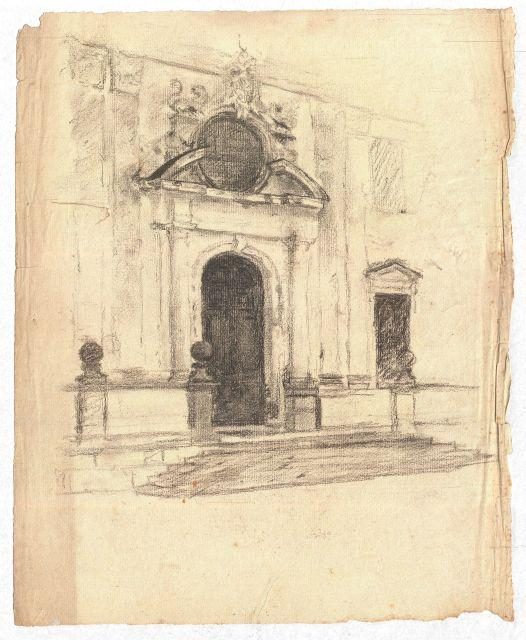 Sketch of a building exterior by Theodore Clement Steele (1847-1926, United States)