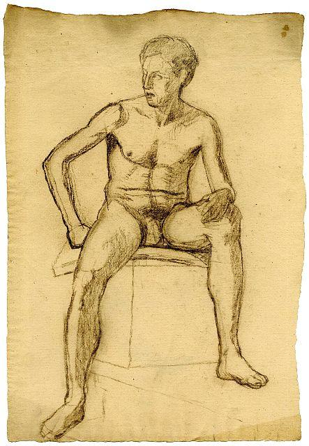 Sketch of male nude by Theodore Clement Steele (1847-1926, United States)