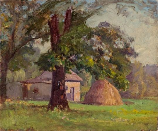 Stable and Haystack (A Haystack) by Theodore Clement Steele (1847-1926, United States)