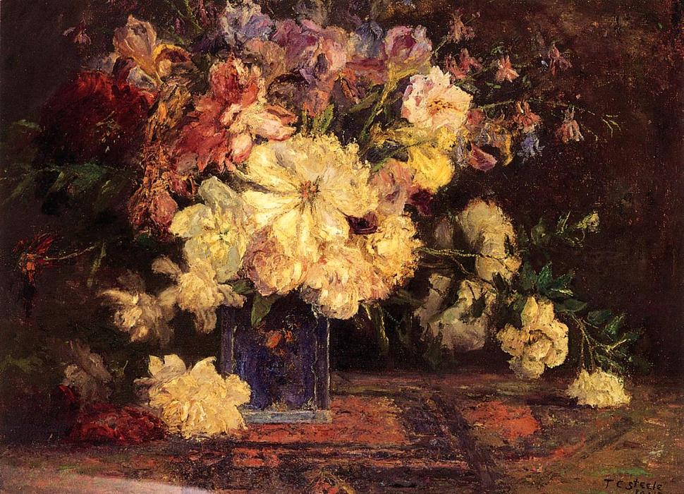 Still Life with Peonies, Oil On Canvas by Theodore Clement Steele (1847-1926, United States)