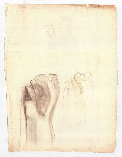 Studies of clenched fists by Theodore Clement Steele (1847-1926, United States)