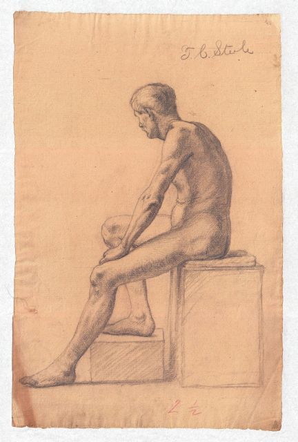 Study of a Male Nude 5 by Theodore Clement Steele (1847-1926, United States) | Museum Art Reproductions | ArtsDot.com