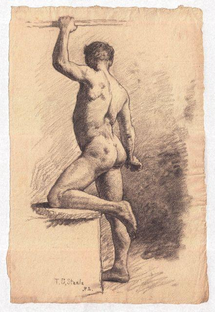 Study of a Male Nude 7 by Theodore Clement Steele (1847-1926, United States) | Painting Copy | ArtsDot.com
