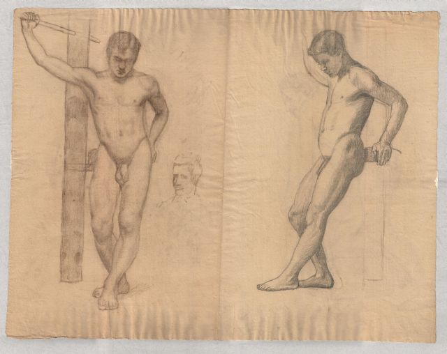 study of male nude 2 by Theodore Clement Steele (1847-1926, United States)